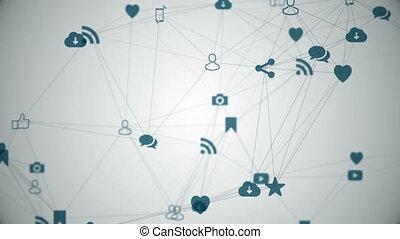 Media icons create a plexus. - Network nodes - an abstract...