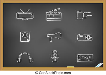 media icons drew on blackboard