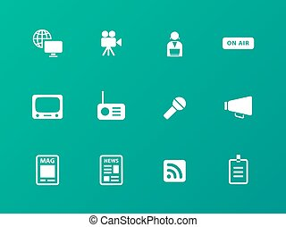 Media icons on green background.