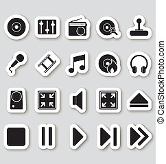 Media icons on stikers