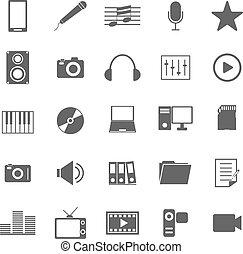 Media icons on white background