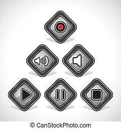 Media Icons Set Design