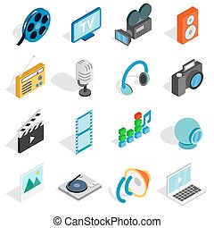 Media icons set, isometric 3d style
