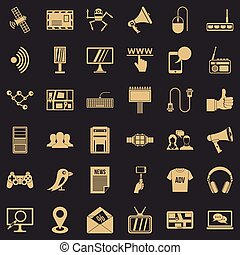 Media icons set, simple style