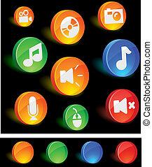 media, icons.