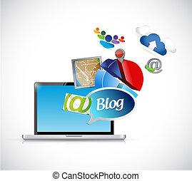 media, ilustracja, blog, telefon, projektować, narzędzia