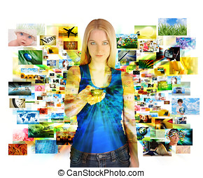 Media Images Girl with Remote Control - A girl has a remote...