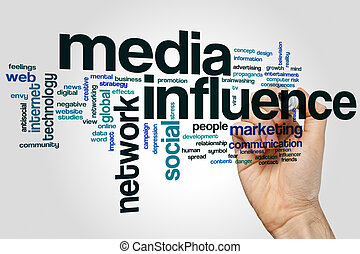 Media influence word cloud concept with marketing network related tags