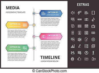 Media infographic template, elements and icons.