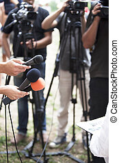 media interview - A journalist is making a interview with a...