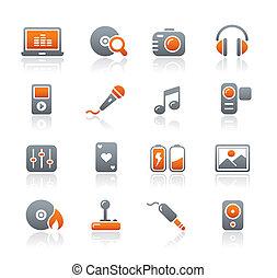 media, intrattenimento, &, icone