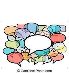 media, kleuren, toespraak, sociaal, bellen, praatje
