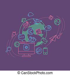media, kleurrijke, lineair, illustratie, sociaal