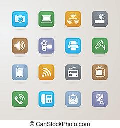 media, kommunikation, sätta, ikonen