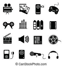 media, komplet, powinowaty, ikona