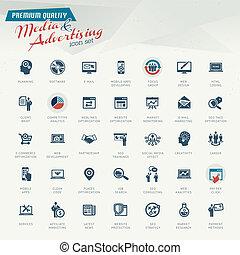 media, komplet, reklama, ikona