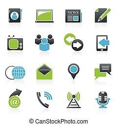 media, komunikacja, ikony
