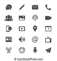 media, komunikacja, płaski, ikony