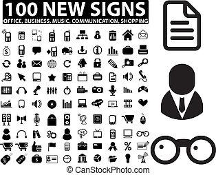 media, kontor, affär, undertecknar, färsk, 100