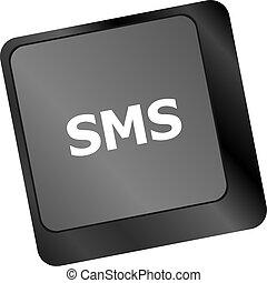 media, laptop tangentbord, sms, text, nyckel, social