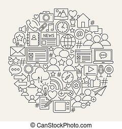media, lijn, sociaal, cirkel, iconen