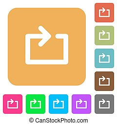 Media loop rounded square flat icons