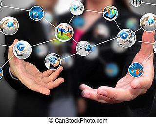 media, ludzie handlowe, dzierżawa, towarzyski