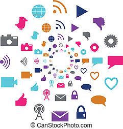 media, luminoso, movimento, colori, sociale, cerchio, tecnologia