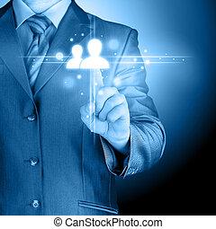 Media, mano, urgente, sociale, uomo, icona