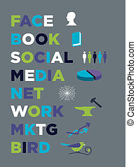 media, marketing, boek, gezicht, sociaal