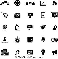Media marketing icons on white background