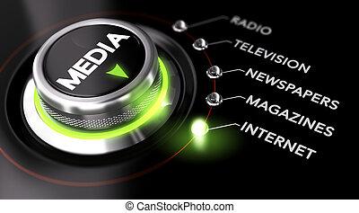 media, massa, adverterende campagne