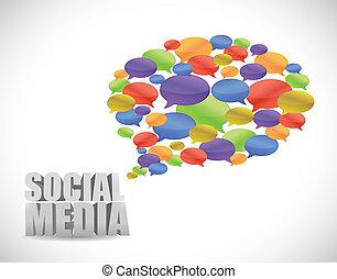 media, messaggio, sociale, illustrazione, comunicazione