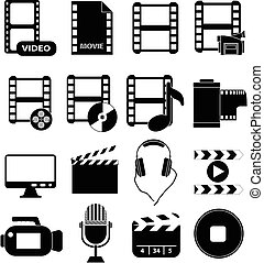 Media movie icons set