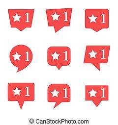 media, negen, sociaal, ster, notifications