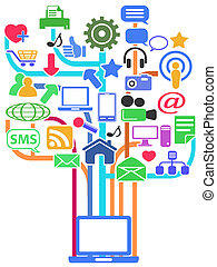 media, netwerk, achtergrond, sociaal
