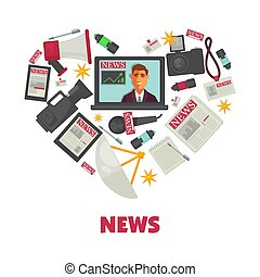 Media news and journalism vector poster - News poster of...