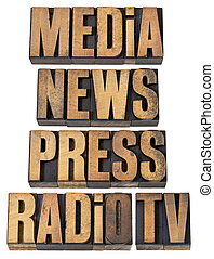 media, news, press, radio and tv - a collage of isolated...