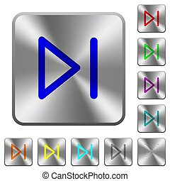 Media next rounded square steel buttons