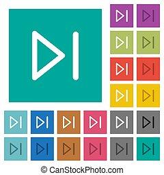 Media next square flat multi colored icons