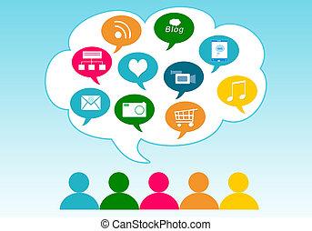media, nuvola, sociale