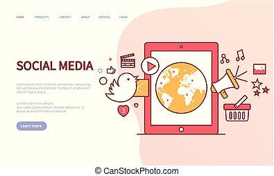 media, online, website, vector, communicatie, sociaal