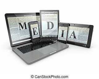 media., ordinateur portable, téléphone, et, tablette, pc., électronique, devices.