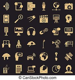 Media outlet icons set, simple style
