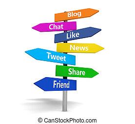 media, palo, sociale, segno