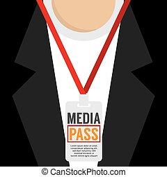 Media Pass Lanyard Vector Illustration