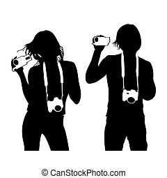 Media people - Man and woman silhouettes with camera and...