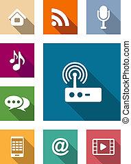 media, plat, set, communicatie, iconen