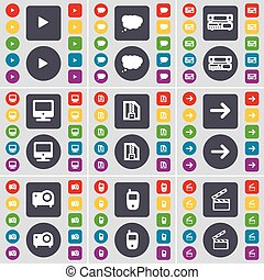 Media play, Chat cloud, Record-player, Monitor, ZIP file, Arrow right, Projector, Mobile phone, Clapper icon symbol. A large set of flat, colored buttons for your design. Vector