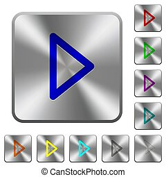 Media play rounded square steel buttons